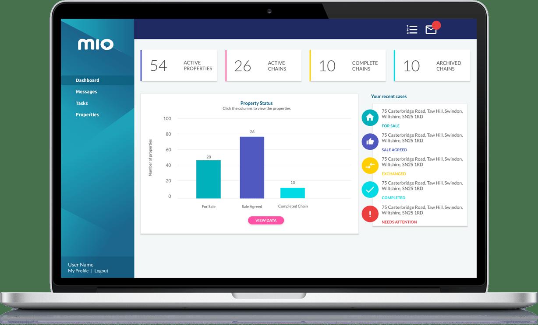 Mio - Property Management Software Laptop View
