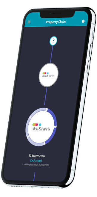 a phone displaying the mio application property chain view