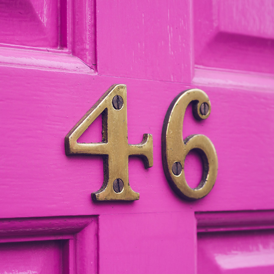 A house door with 46 on it